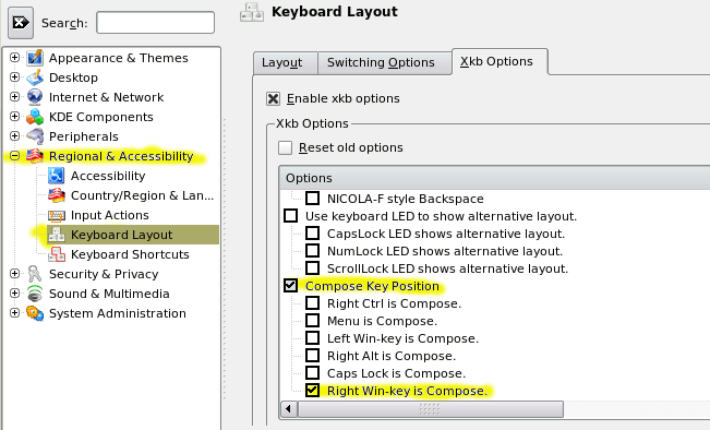 Linux keyboard text symbols: Compose key shortcuts - fsymbols