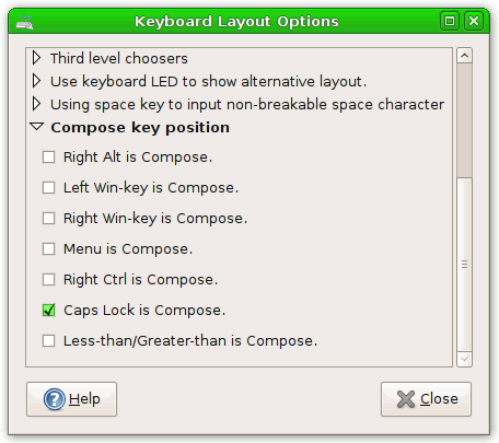 Keyboard layout: Compose and chooser keys on GNOME