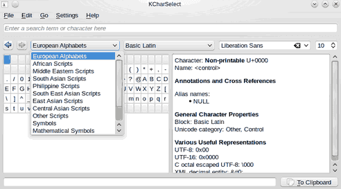 KDE Character Selector screenshot