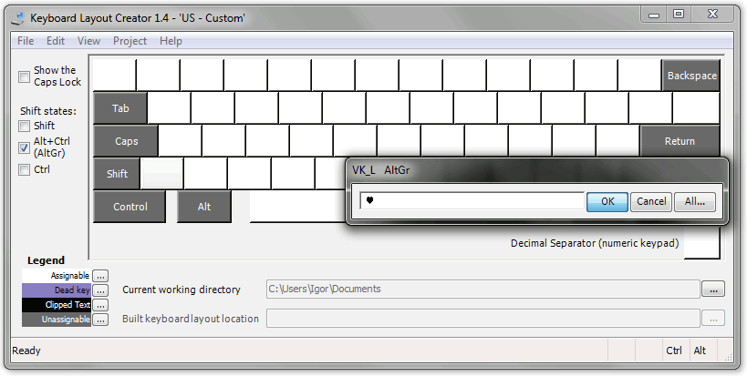 Keyboard Layout Creator: Assigning new symbol
