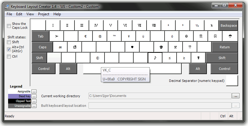 Keyboard Layout Creator: Fancy layout on AltGr