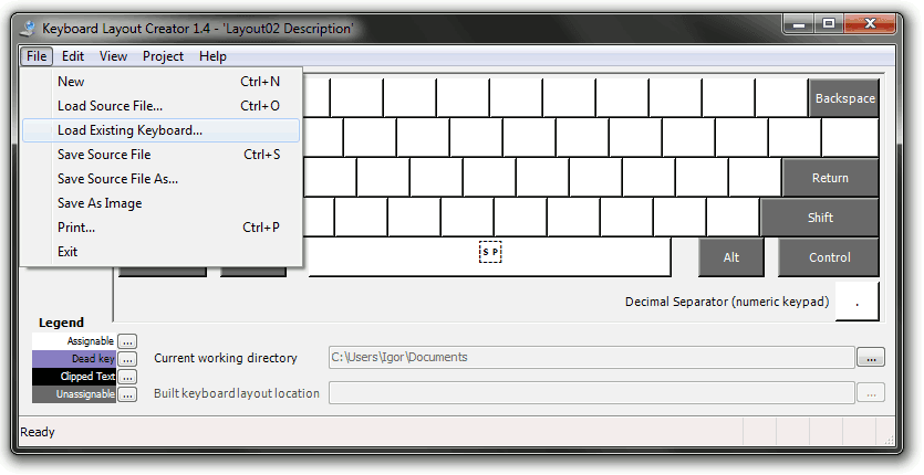 Keyboard Layout Creator choosing to load existing keyboard