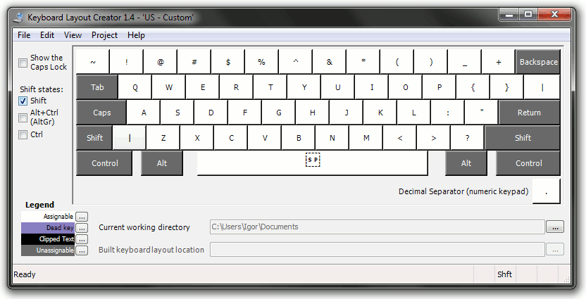 Keyboard Layout Creator: Shift state