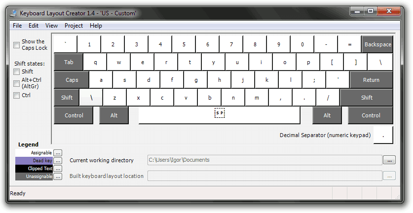 Keyboard Layout Creator: US layout loaded