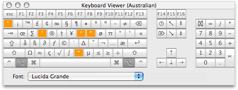 Keyboard Viewer and Mac keyboard shortcuts for symbols