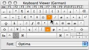 Mac-Tastatur Viewer-Fenster