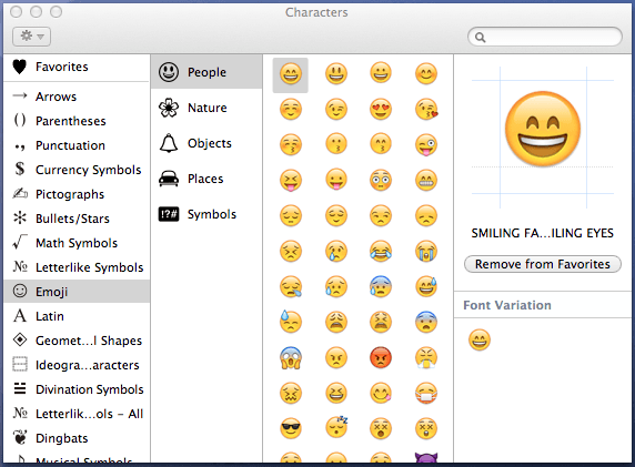 Apple Mac Os X Character Viewer System App For Text Symbols