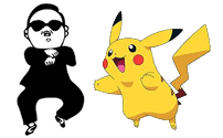 Psy getting caught by Picachu in Facebook as chat image